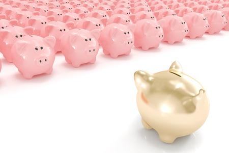 Golden piggy bank facing hundreds of other piggy banks