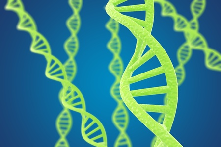 double helix: Green DNA helices on a blue background with shallow DOF