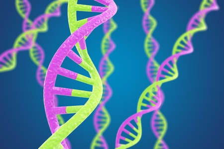 DNA helices on a blue background with shallow DOF Stock Photo - 9107017