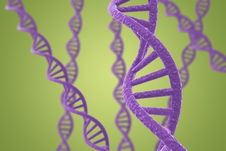 Purple DNA helices on a green background with shallow DOF Stock Photo - 9107016