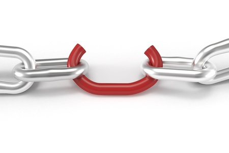 Weak red chain link close up Stock Photo