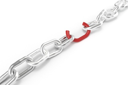 vulnerability: Weak red chain link Stock Photo
