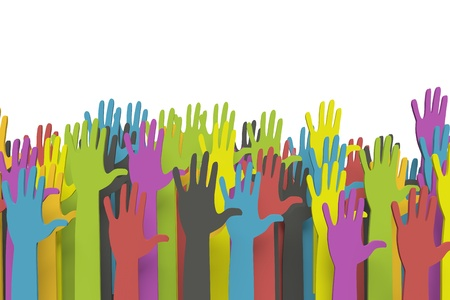 volunteers: Colorful raised hands  Stock Photo