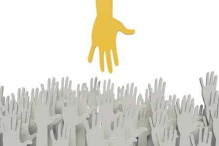ones: Big orange hand reaching for small ones Stock Photo