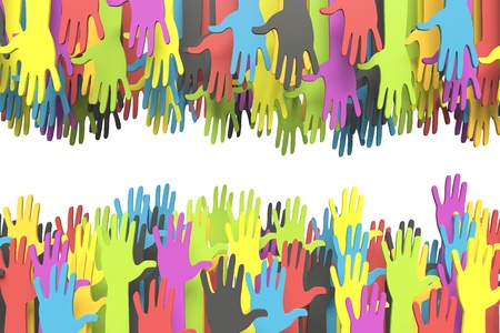 Colorful group of hands reaching for another