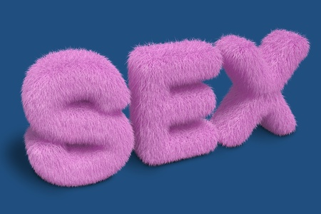 Furry SEX letters on a blue background Stock Photo - 10422274