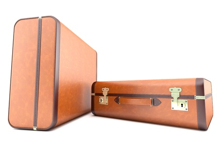 Two light brown old suitcases photo