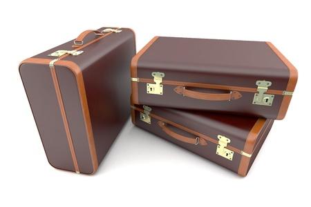 overnight: Three dark old suitcases