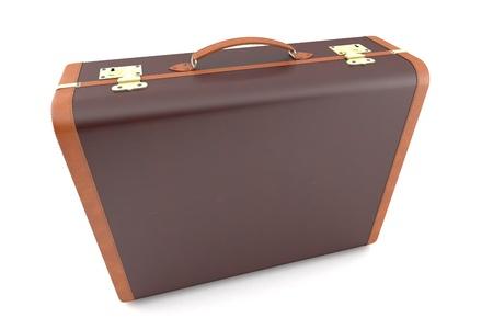 overnight: Old dark suitcase Stock Photo