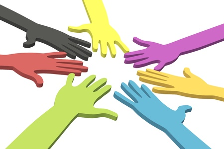 volunteers: Colorful hands in a circle  Stock Photo