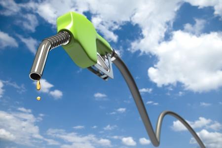 녹색 연료 노즐 중 연료 떨어지는