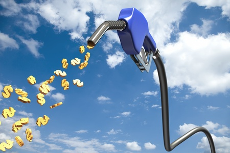 Dollar signs comming out of a blue fuel nozzle Stock Photo