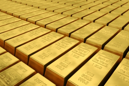 Rows of gold bars Stock Photo