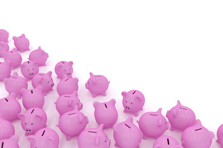 Piggy banks in corner with copyspace