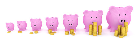 Different size piggy banks with coins Stock Photo