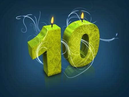 numero diez: Modern número tipografía 10 velas Foto de archivo