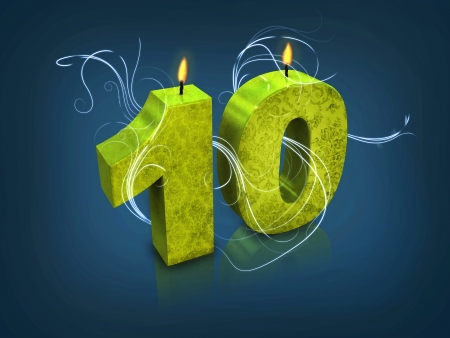 Modern typography number 10 candle photo