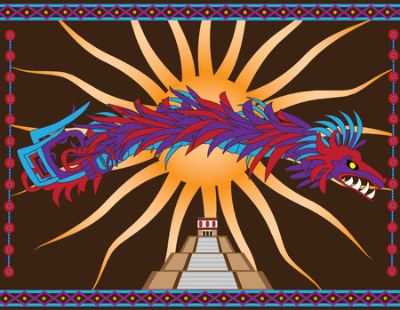 Traditional Aztec Quetzalcoatl and aztec temple