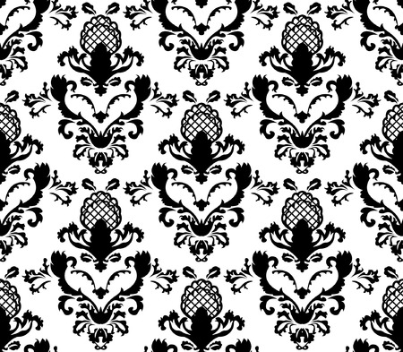 black-and-white floral pattern seamless Stock Vector - 6198678