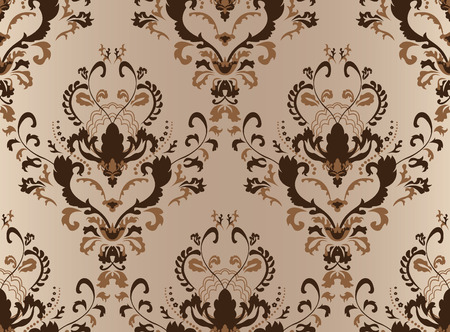 rococo style: Brown seamless damask wallpaper for design Illustration