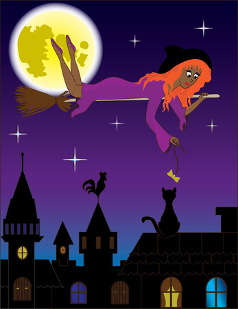 flying hat: Young witch playing with a cat under nightly city Illustration