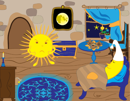 Sun and moon cartoon characters in funny situation Vector