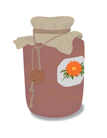 calendula: Clay age-old medicinal jar with calendula Illustration