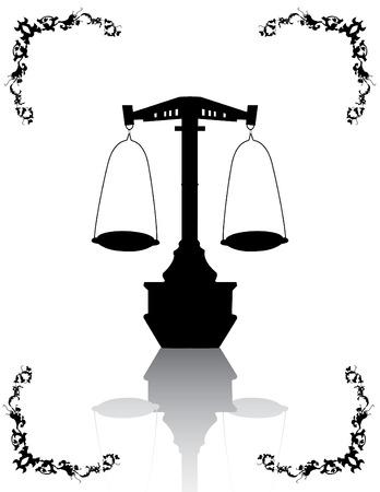 justice scales: Escala de justicia y floral patr�n de dise�o