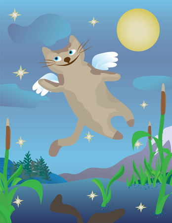 Magic flying cat in nightly sky Stock Vector - 6563597