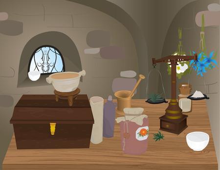mortero: Ilustraci�n de farmacia medieval con equipos de medicina  Vectores