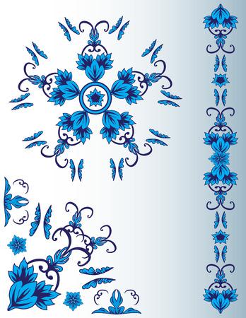Set of blue floral elements for design Stock Vector - 6563601
