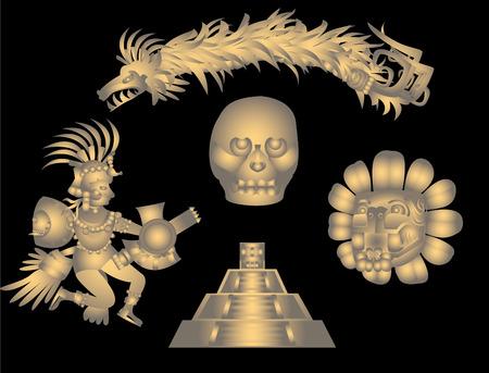 Quetzalcoatl and Aztec symbols for design