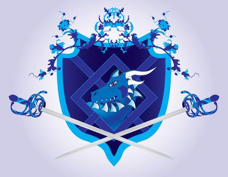 Fantasy shield with a dragon and swords Vector