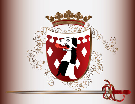 heralds: Shield with a dog, sword and crown for design