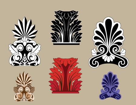 architectural elements: Conjunto de elementos arquitect�nicos tradicionales de dise�o  Vectores