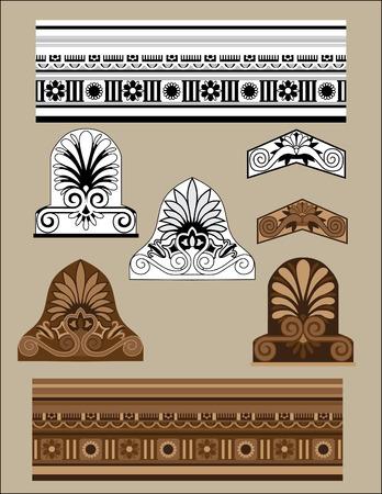 architectural elements: Conjunto de elementos arquitect�nicos tradicionales  Vectores