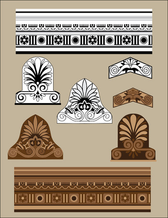 Traditional architectural elements set Vector