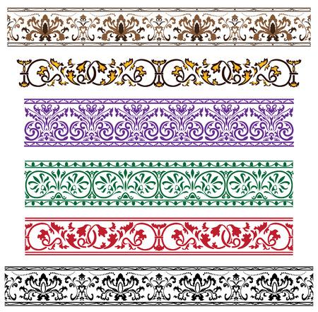 bordures fleurs: Ornement architectural traditionnel, d�fini pour la conception  Illustration