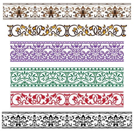 green leaves border: Traditional architectural ornament set for design Illustration