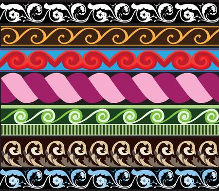 border silhouette: Traditional architectural ornament set for design Illustration