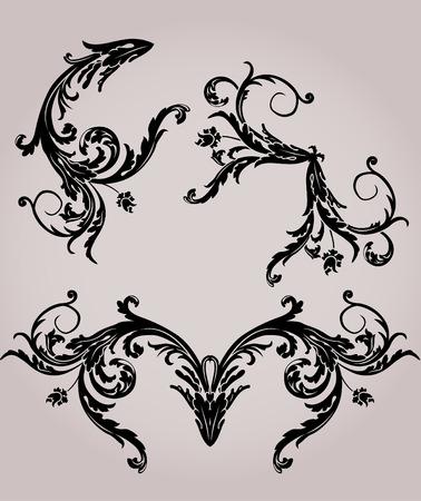 long stem: Black floral stencil elements set for design Illustration