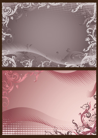 Pink and gray floral backgrounds with halftone