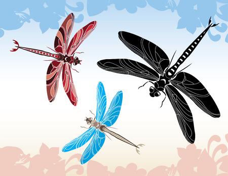 Set of dragonfly stencil, illustration in three variants Stock Vector - 7054790