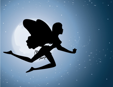 Flying fairy silhouette in night sky vector illustration Vector