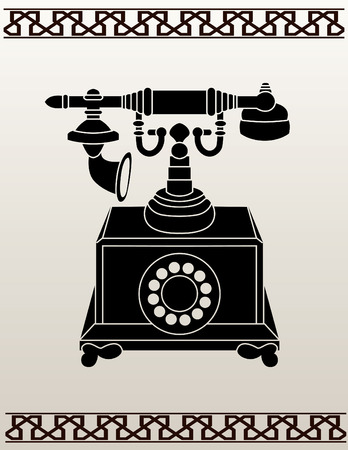 Ancient telephone stencil  illustration for design Stock Vector - 7097085