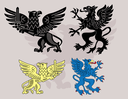 Traditional heraldic gryphons set Vector