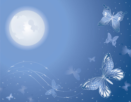 moon and stars: Magic lunar butterfly background illustration for design