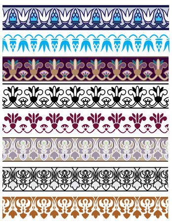 bordures fleurs: Ornement architectural traditionnel et pochoir d�fini pour la conception  Illustration