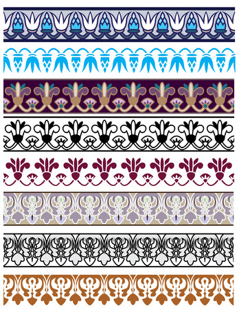 green leaves border: Traditional architectural ornament and stencil set for design