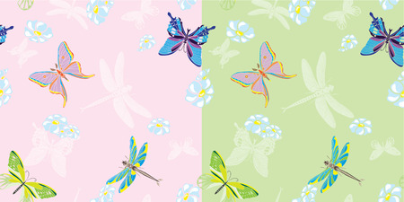 Summer butterfly seamless in two variants Vector